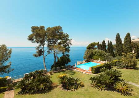 landscape garden: sea, beautiful landscape from the garden of a villa