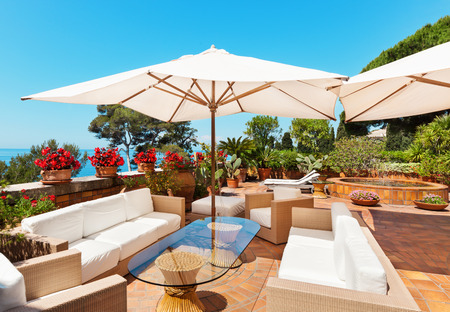 Garden Furniture: Outside Exterior With Sea View From Terrace Stock Photo