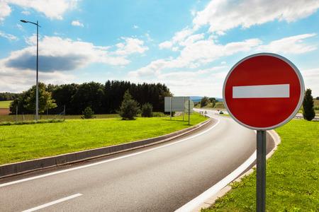 道路標識を禁止する道路 写真素材