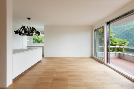 ceiling design: Architecture, white domestic kitchen of a new apartment
