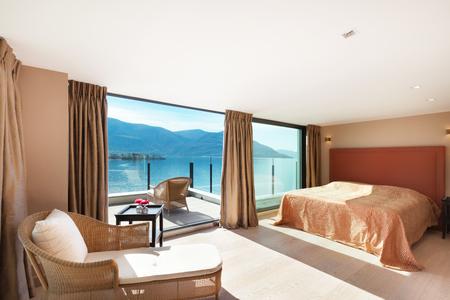 penthouse: modern architecture, Interior, beautiful penthouse, bedroom Stock Photo