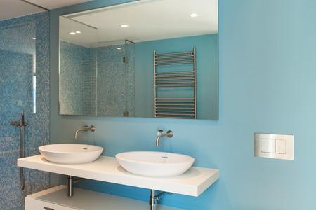 인테리어, 현대 아파트, 편안한 욕실 스톡 콘텐츠