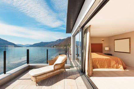 balcony window: Interior, beautiful modern apartment, bedroom view from balcony Stock Photo