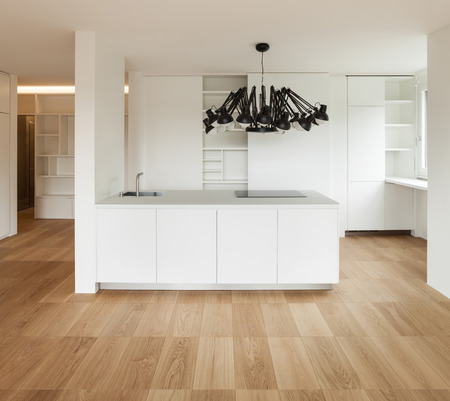 front view: Architecture, white domestic kitchen of a new apartment