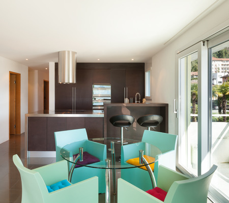 furnished: Architecture, beautiful apartment furnished, comfortable dining room Stock Photo