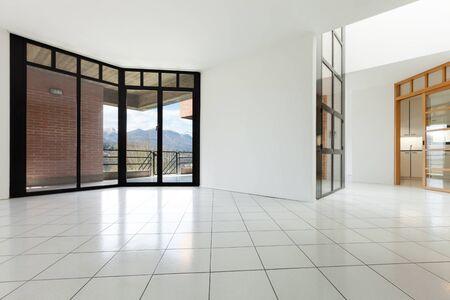 balcony door: Architecture, Interiors of empty apartment, room with windows Stock Photo