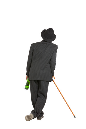 abusing: drunk man with hat, isolated over white background Stock Photo