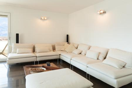Inter Einer Modernen Wohnung, Gemütliches Wohnzimmer Lizenzfreie ...
