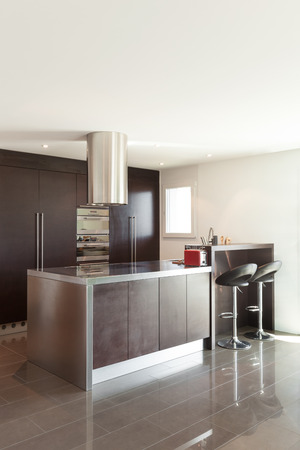 furnished: Architecture, beautiful apartment furnished, modern kitchen Stock Photo
