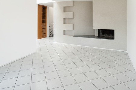 the white house: Architecture, Interiors of empty apartment, room with fireplace Stock Photo