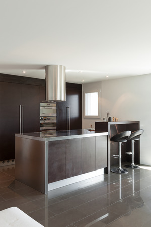 tiled wall: Architecture, nice apartment furnished, modern kitchen