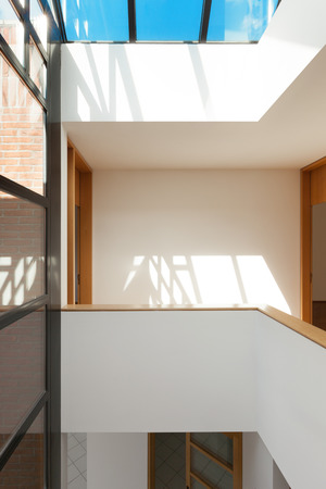 skylights: Architecture, Interiors of empty apartment, passage with skylight Stock Photo