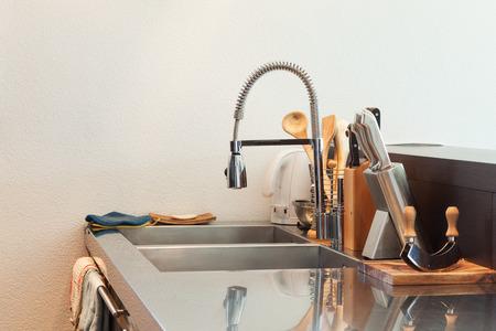 stainless steel sink: Architecture, detail modern kitchen, stainless steel sink