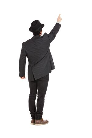 hombre con sombrero: Young man with a hat isolated over white background