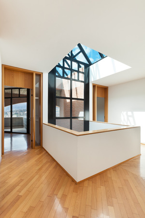 architectures: Architecture, Interiors of empty apartment, room with skylight