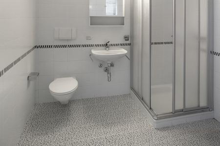 piastrelle bagno: architettura, interni di appartamento vuoto, vista bagno Archivio Fotografico