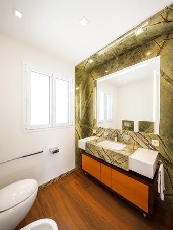 bathroom interior: Interior design, bathroom with marble, nobody inside Stock Photo