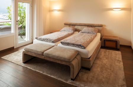 modern home: Interior architecture, bedroom, nobody inside