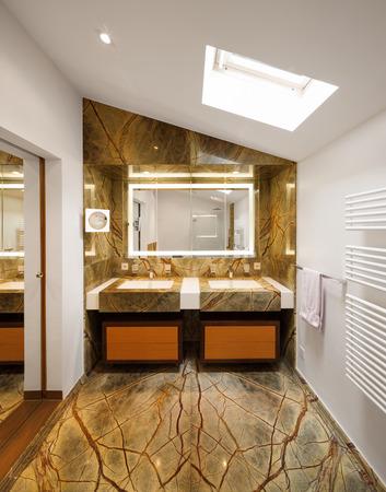 bathroom interior: Interior design, bathroom with marble Stock Photo