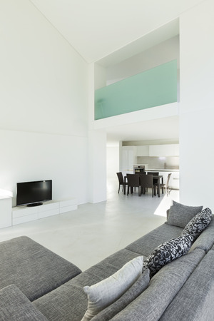 apartment building: Architecture, interior of a modern house, living room Stock Photo