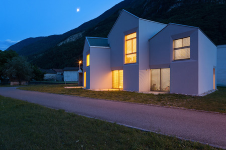 house windows: architecture, modern white houses, outdoor view by night