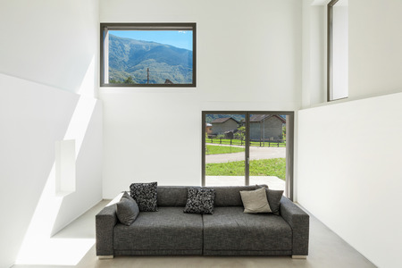 perspective room: architecture, interior modern house, living room with sofa