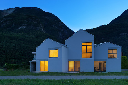 country house style: architecture, modern white houses, outdoor view by night
