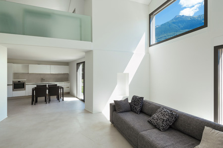 the concrete: architecture, interior modern house, living room with sofa