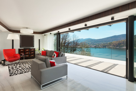 balcony: modern house beautiful veranda overlooking the lake, interior