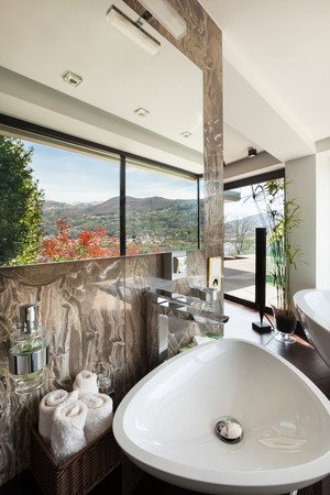 bathroom mirror: modern house beautiful interiors, bathroom