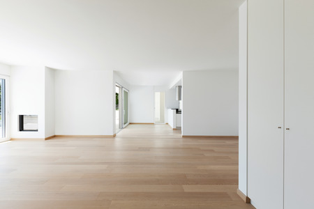 wood floor: Interior, empty living room of a modern apartment Stock Photo
