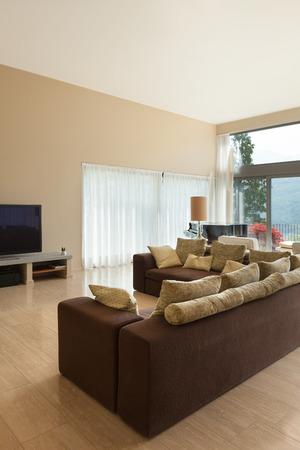 divan: Interior de una moderna sala de estar, sofá cómodo