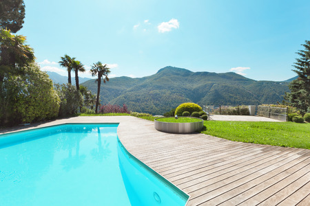 deck: villa with swimming pool, outdoors Stock Photo