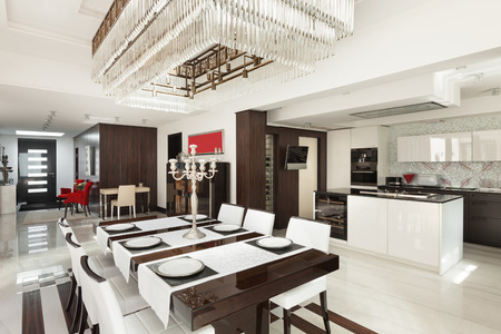 Modern House Beautiful Interiors, Dining Room Stock Photo, Picture And  Royalty Free Image. Image 44117664.