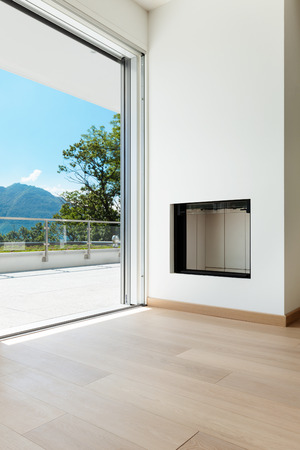balcony window: corner of a modern apartment, view fireplace and window