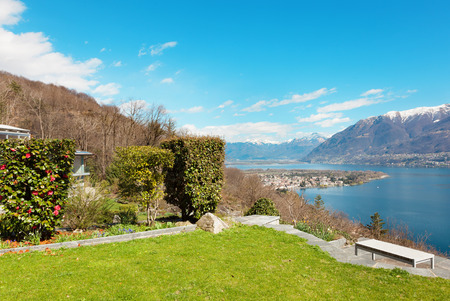 landscape garden: Swiss landscape: garden, mountains and lake