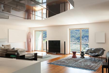 wide open spaces: Interior of apartment, wide living room, parquet floor