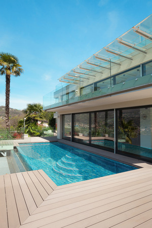 deck: modern house, beautiful patio with pool outdoor