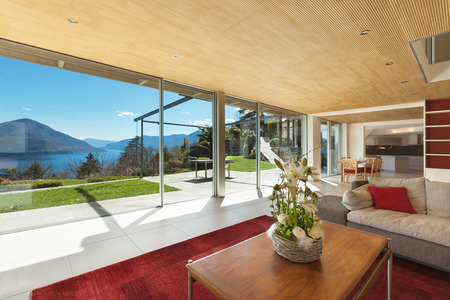 contemporary interior: mountain house modern interior, living room Stock Photo