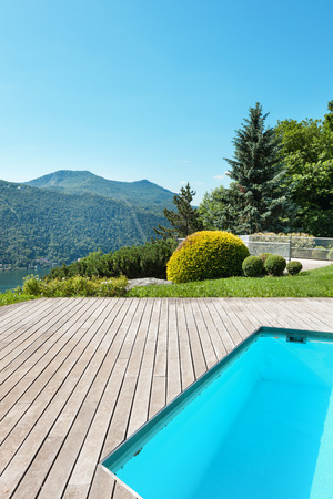 pool deck: Architecture, villa with swimming pool, outdoors
