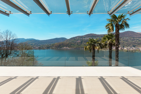 modern house, beautiful veranda overlooking the lake Stock Photo