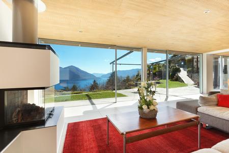 case moderne: casa di montagna interni moderni, soggiorno