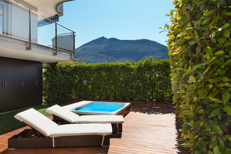 jacuzzi: Architecture, terrace with jacuzzi, summer day