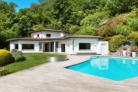deck: Architecture, beautiful villa with swimming pool, outdoors