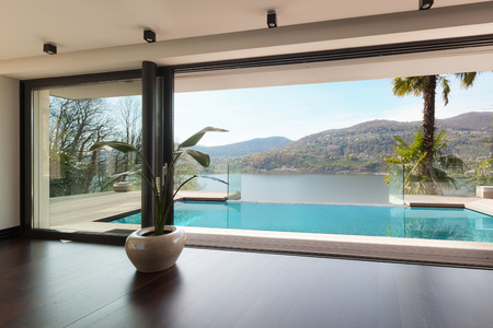 modern house, pool view from the living room