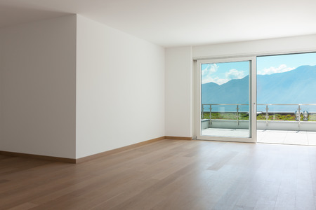 living room: empty living room of a modern apartment Stock Photo