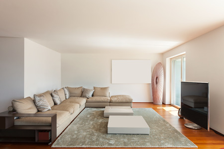 Interior of apartment, wide living room parquet floor