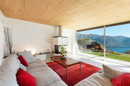 carpet design: mountain house interior, living room Stock Photo