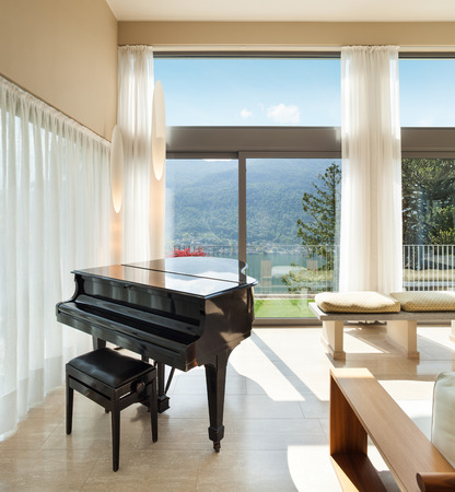 classic living room: Interior of a modern apartment furnished, lounge with piano