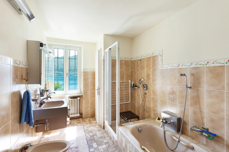 interior of old house domestic bathroom Stock Photo
